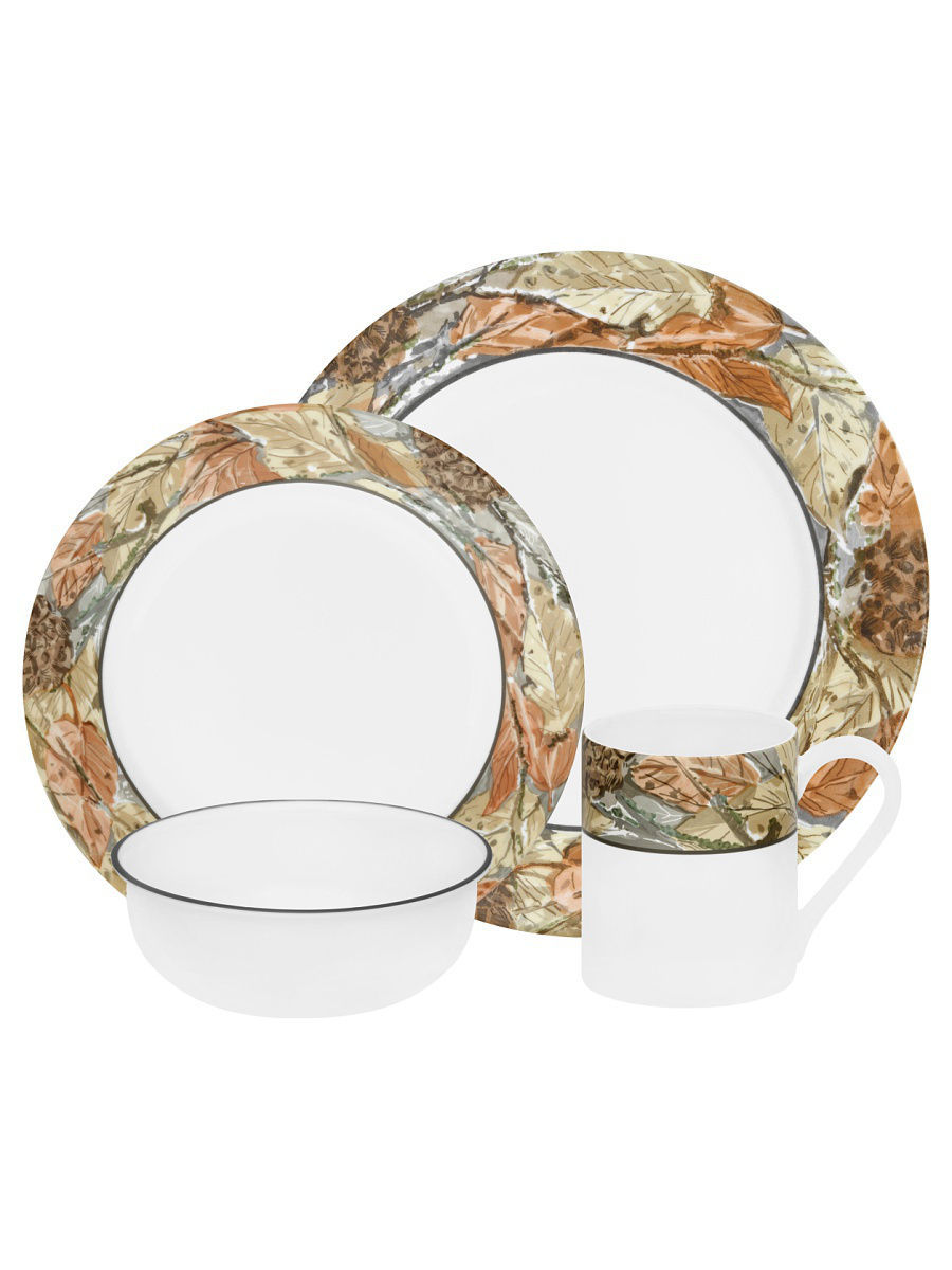 Сервизы столовые Corelle Набор посуды Woodland Leaves 16предметов corelle набор посуды shadow iris 16 пр
