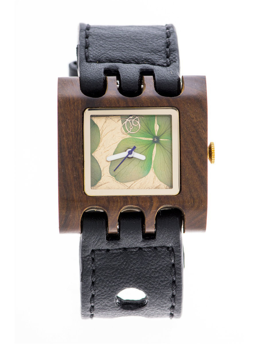 Часы наручные Mistura Часы Mistura QUADRATO SE Black/Green Flowers часы nixon corporal ss matte black industrial green