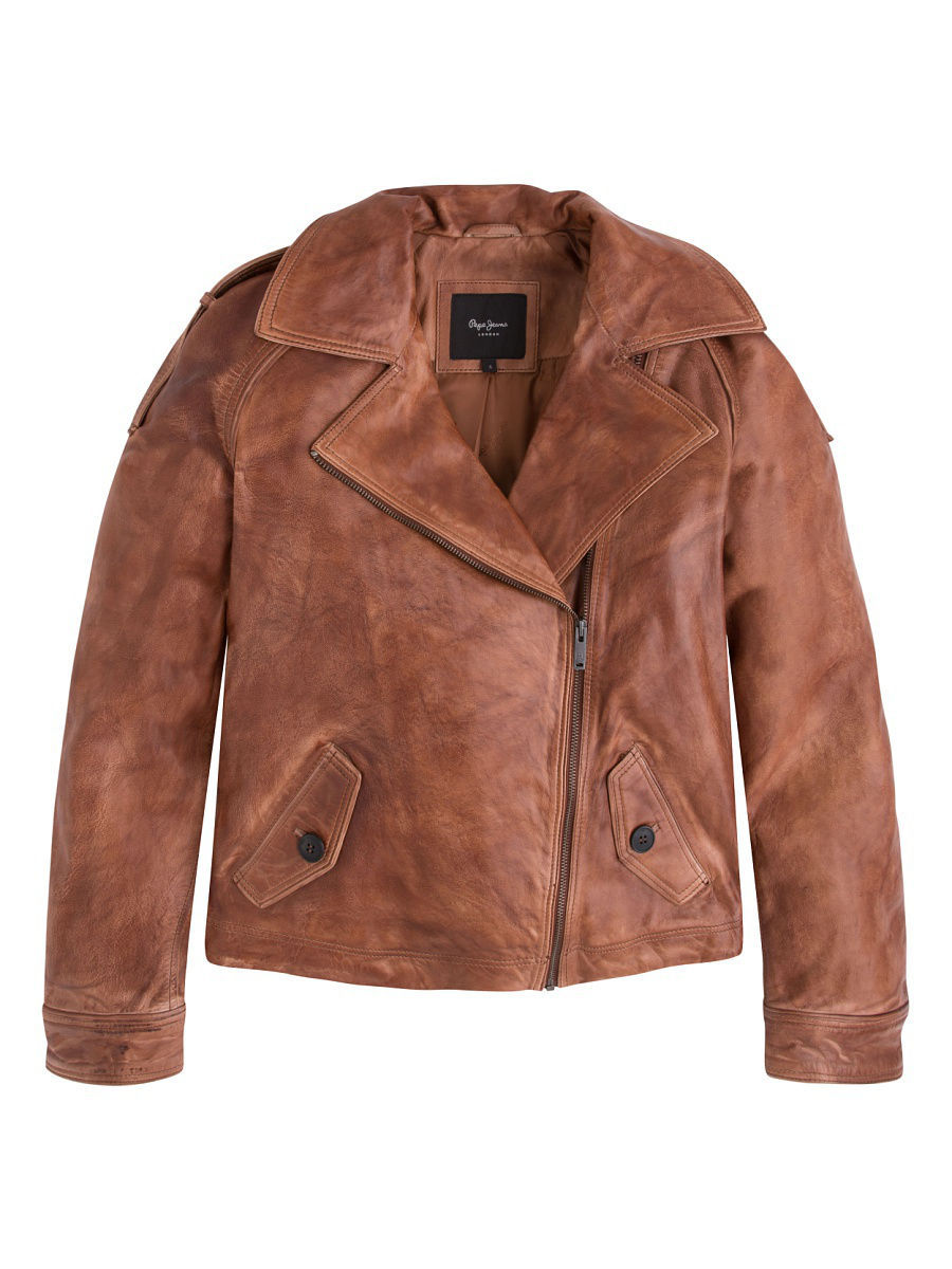 Кожаная куртка Pepe Jeans London PL401276/879COGNAC