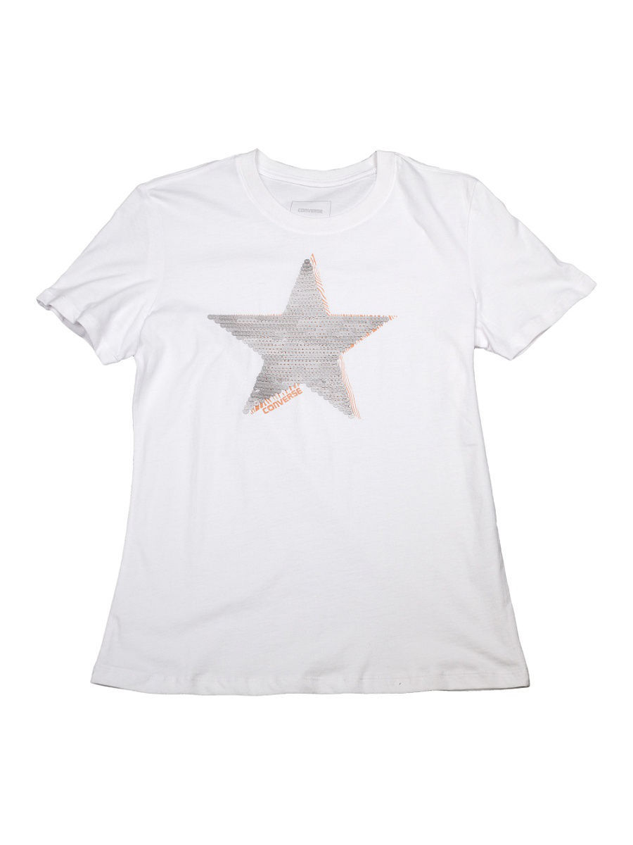 Футболка Converse Футболка Matte Sequin Star Crew Tee футболка converse футболка amt streaming color skull tee