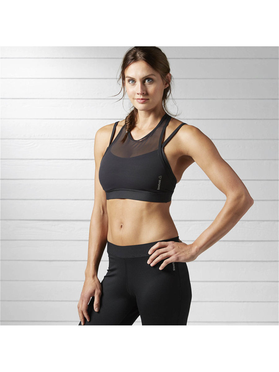 Топы-бра Reebok Топ-бра HERO STRONG BRA BLACK цена и фото