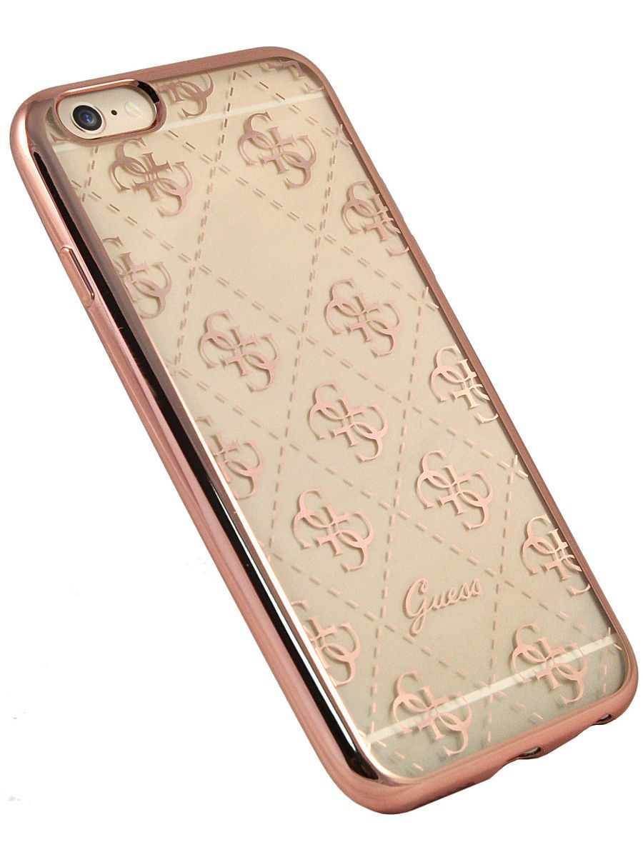 Чехлы для телефонов GUESS Чехол Guess для iPhone 6/6S 4G Transparent Hard TPU Rose gold guess sc49 13670 rose