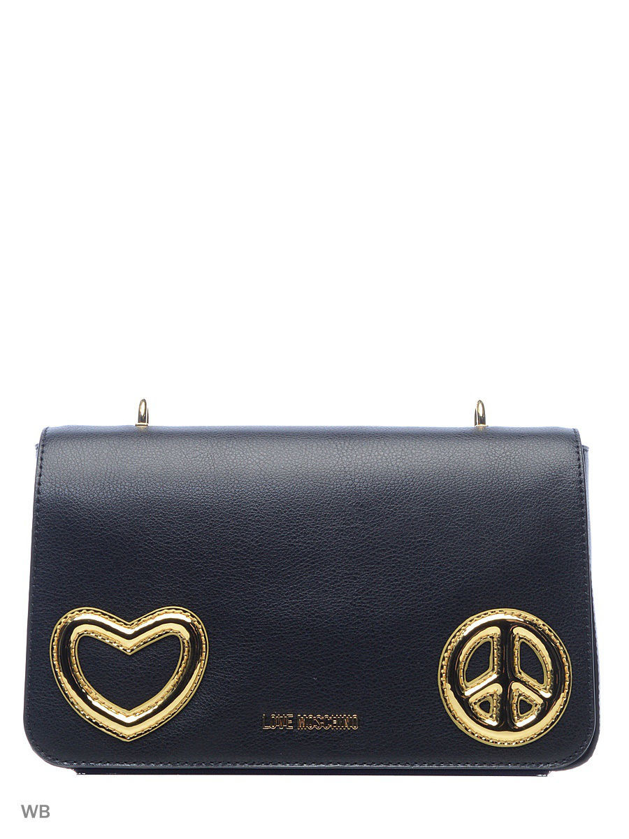 Кожаная сумка Love Moschino JC4273PP04KI100ABLACK/GOLD