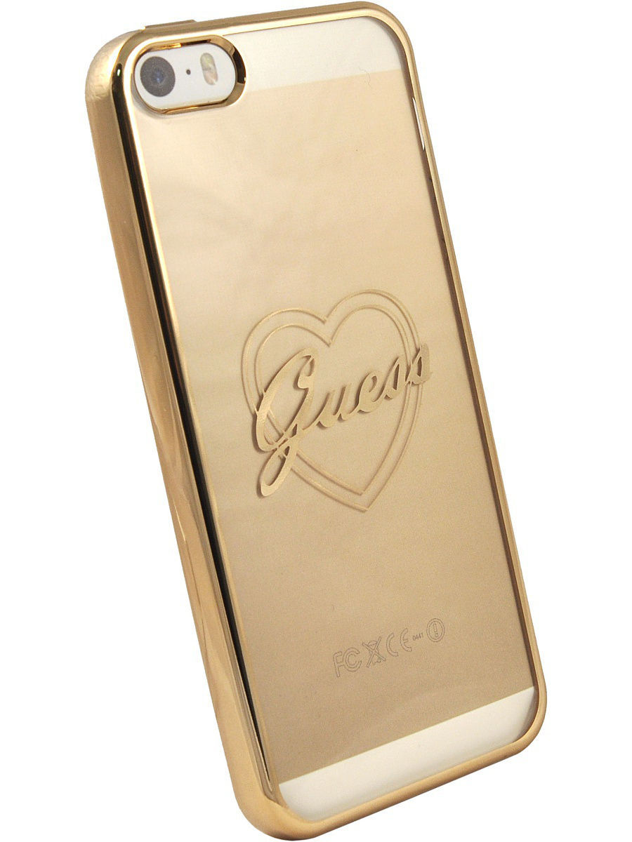 Чехлы для телефонов GUESS Чехол Guess для iPhone 5S/SE SIGNATURE HEART Hard TPU Gold guess gu460dwhlf92