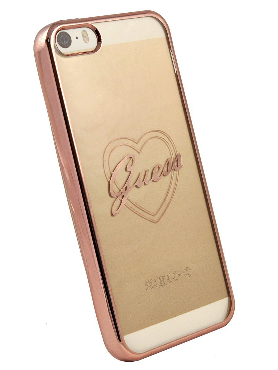 Чехлы для телефонов GUESS Чехол Guess для iPhone 5S/SESIGNATURE HEART Hard TPU Rose gold guess gu460dwhlf92