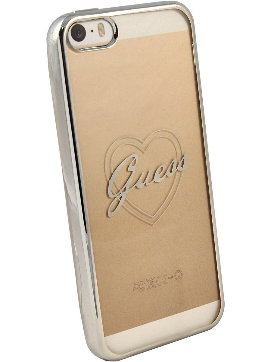 Чехлы для телефонов GUESS Чехол Guess для iPhone 5S/SE SIGNATURE HEART Hard TPU Silver guess gu460bmvzj50