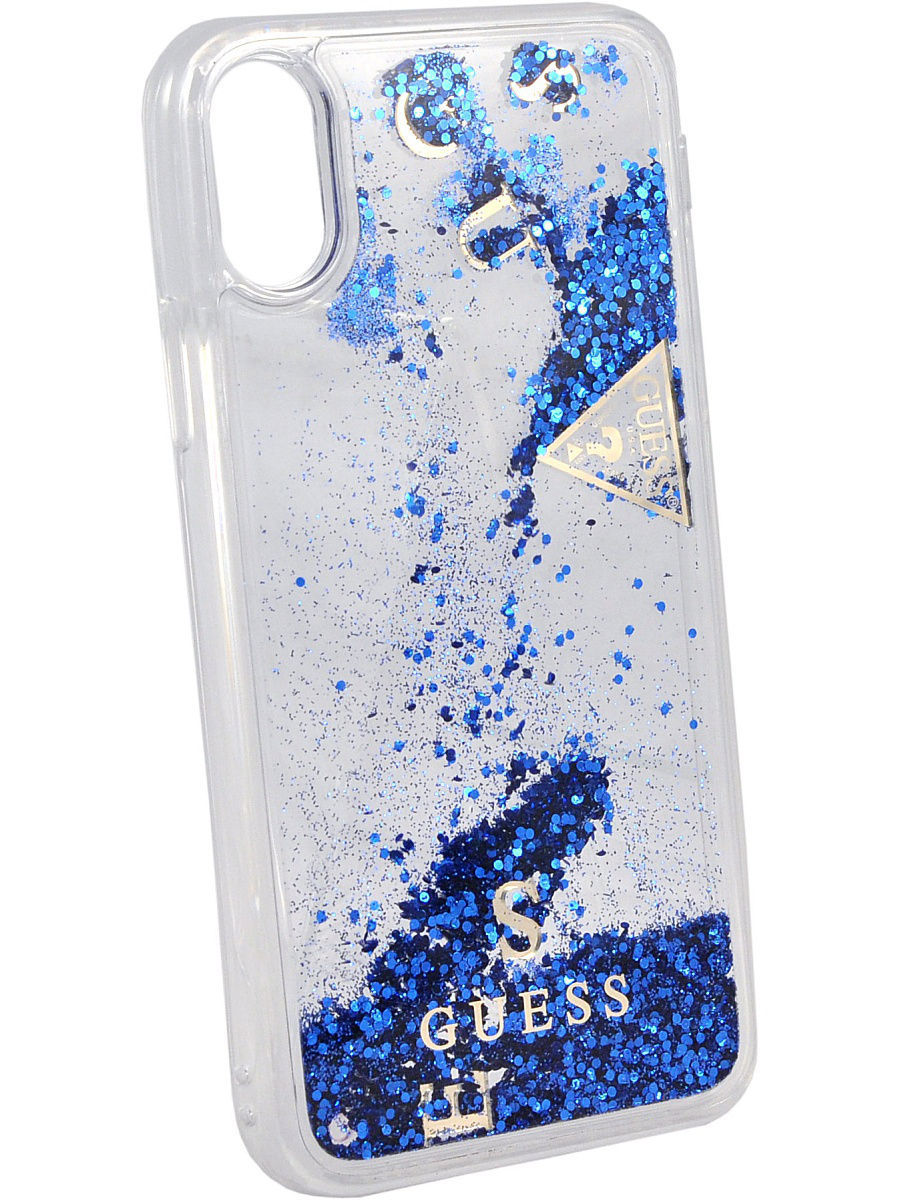 Чехлы для телефонов GUESS Чехол Guess для iPhone X Glitter Hard PC, Blue guess gu460dwhlf92