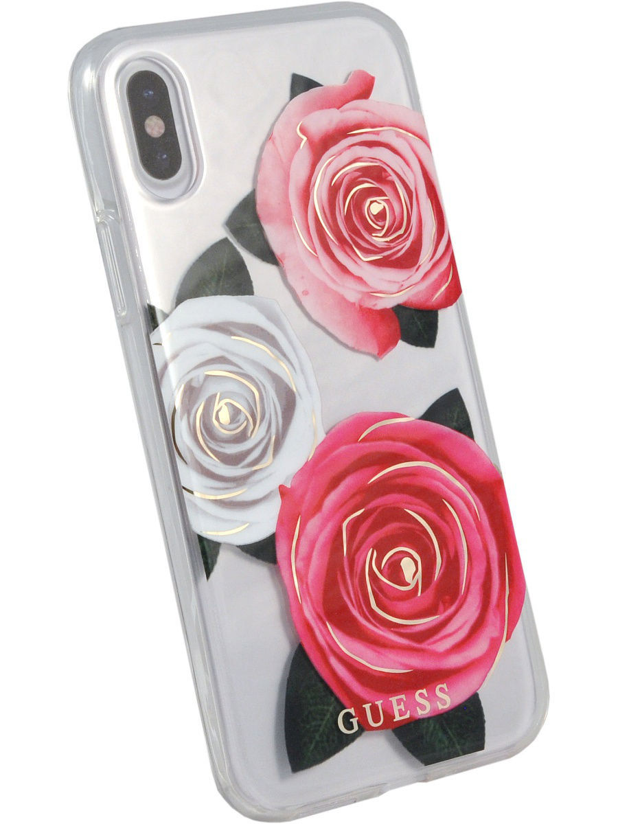 Чехлы для телефонов GUESS Чехол Guess для iPhone X Flower desire Transparent Hard PC/Roses, Pink/White guess gu460bmvzj50