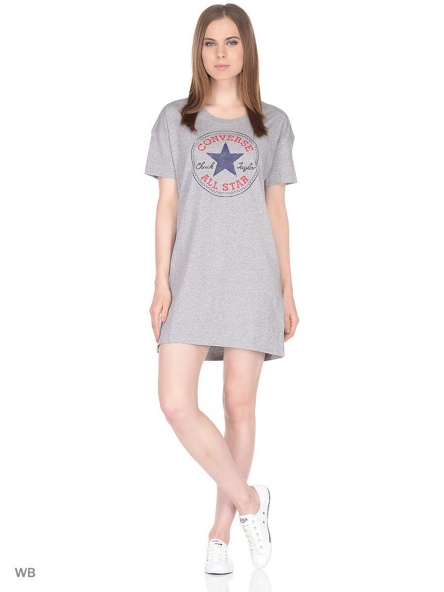 Футболка Converse Футболка AWT CHUCK PATCH TEE DRESS футболка converse футболка amt streaming color skull tee