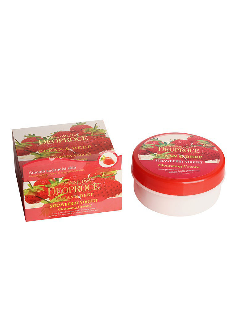 Кремы DEOPROCE Крем для лица клубничный PREMIUM CLEAN & DEEP STRAWBERRY YOGURT CLEANSING CREAM 300g крем deoproce daily a mink oil deep nutrition cream 50 г