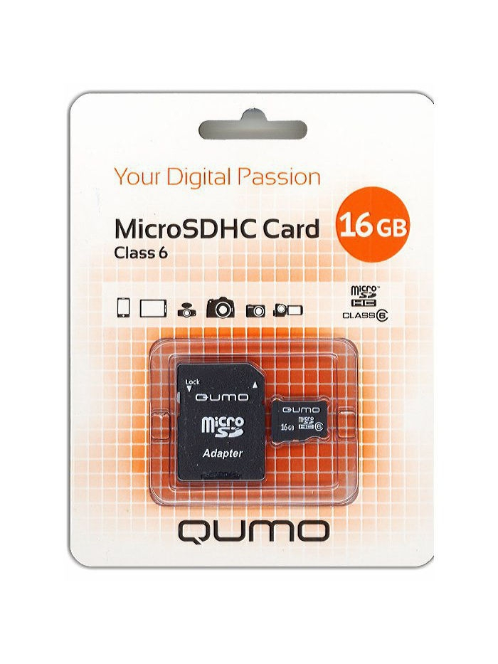 Карты памяти QUMO Карта памяти microSD 16Gb Class 6 + Adapter qumo dragon war association клавиатура