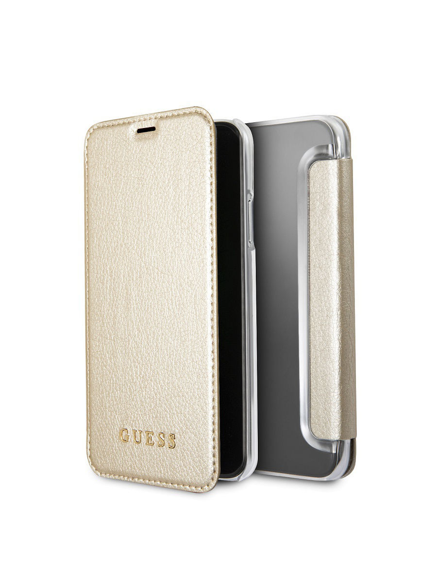 Чехлы для телефонов GUESS Чехол Guess для IPhone X Iridescent Booktype PU Gold guess gu460dwhlf92