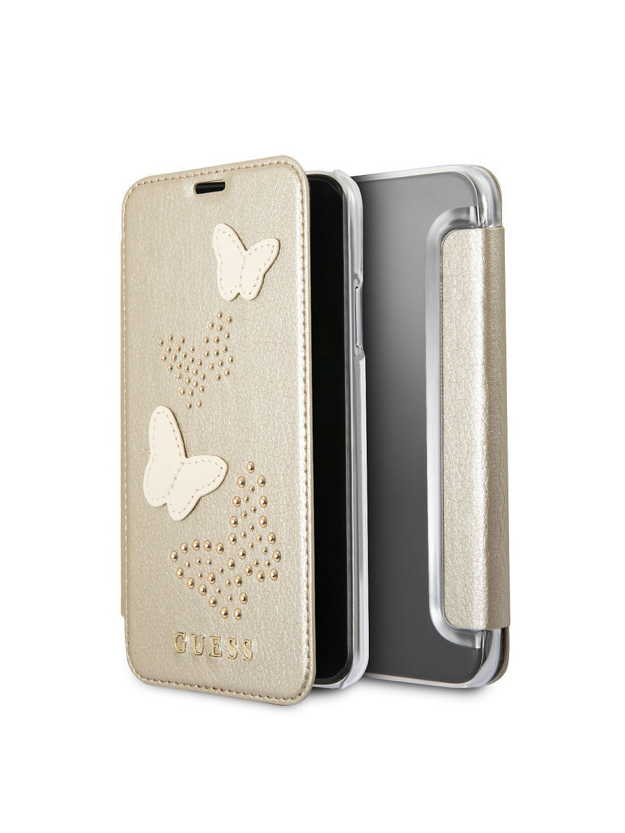 Чехлы для телефонов GUESS Чехол Guess для iPhone X Studs&Sparkles Booktype PU/Butterflies Beige чехлы для телефонов guess чехол guess для iphone 7 8 flower desire 4g hard pu roses grey