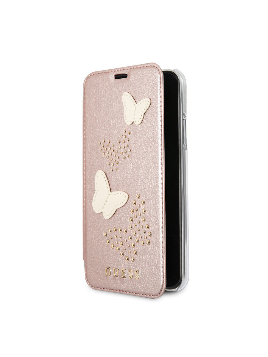 Чехлы для телефонов GUESS Чехол Guess для iPhone X Studs&Sparkles Booktype PU/Butterflies Rose gold чехлы для телефонов guess чехол guess для iphone 7 8 flower desire 4g hard pu roses grey