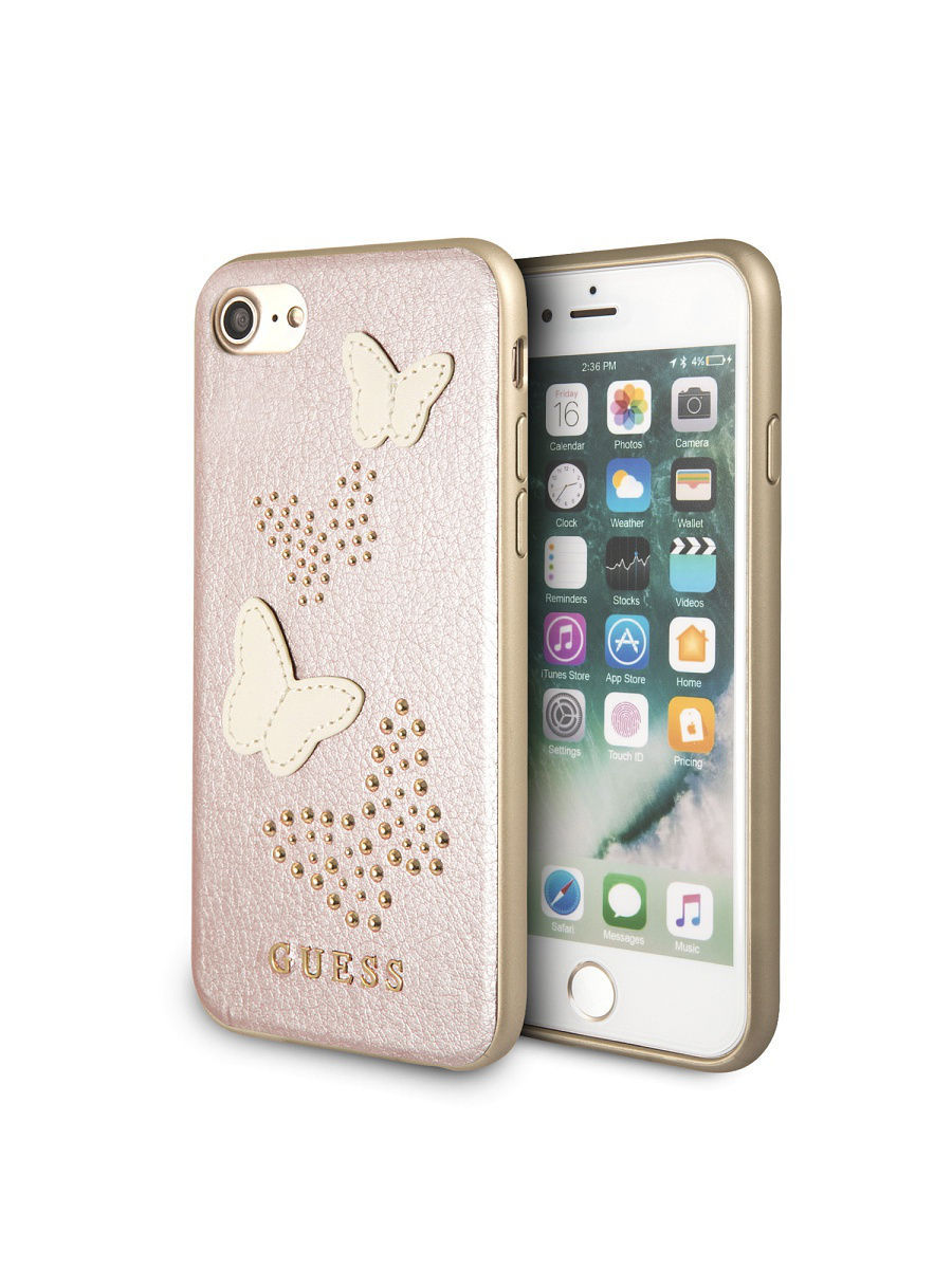 Чехлы для телефонов GUESS Чехол Guess для iPhone 7/8 Studs&Sparkles Hard PU/Butterflies Rose gold чехлы для телефонов guess чехол guess для iphone 7 8 flower desire 4g hard pu roses grey