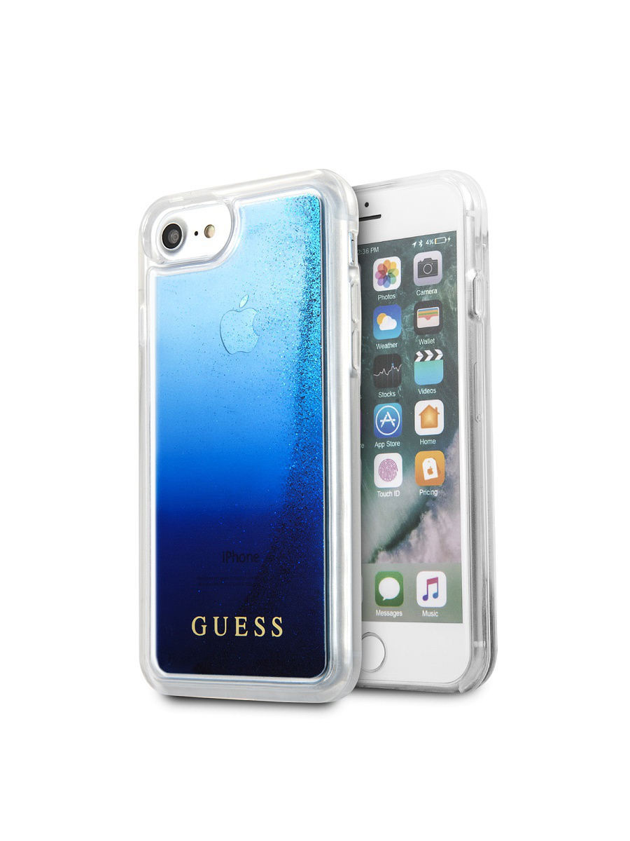 Чехлы для телефонов GUESS Чехол Guess для iPhone 7/8 Glitter Hard PC Blue чехлы для телефонов guess чехол guess для iphone 7 8 flower desire 4g hard pu roses grey