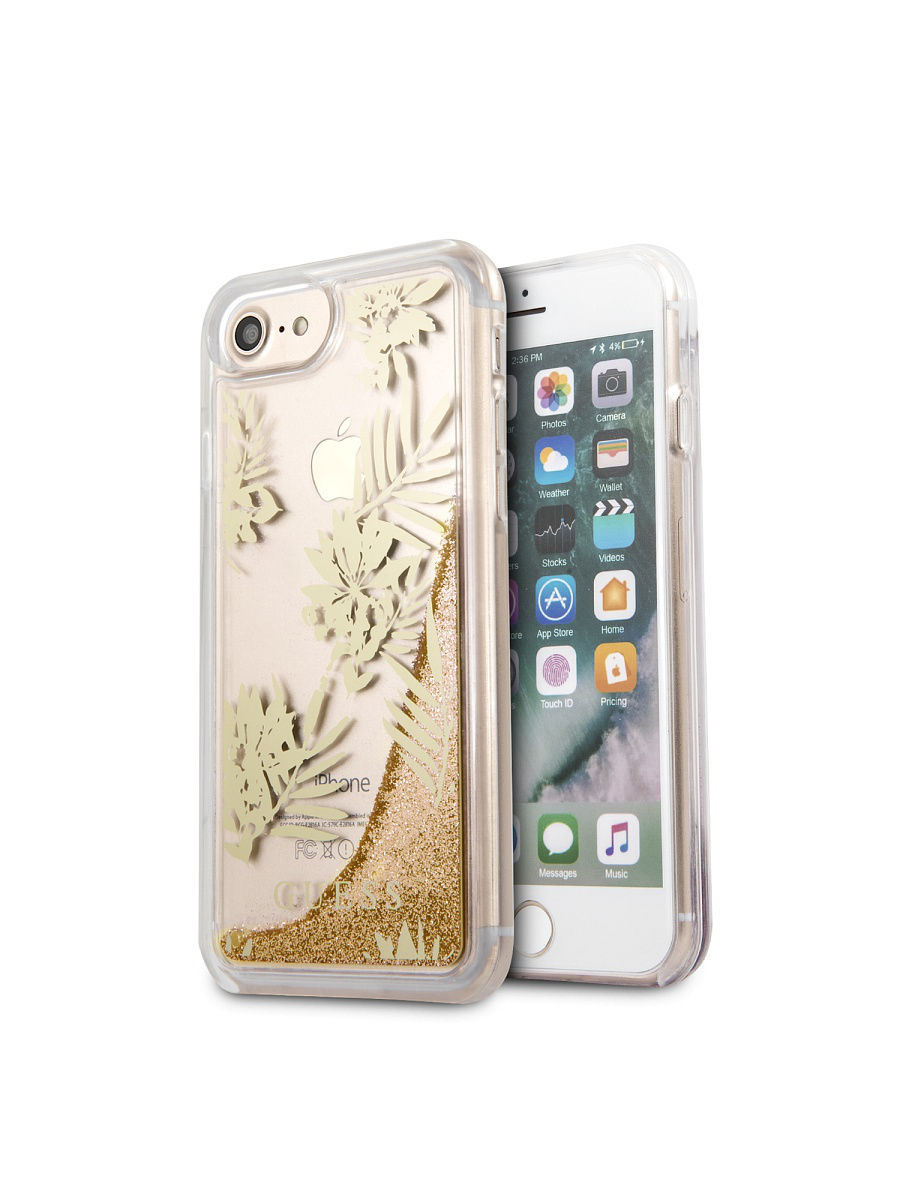 Чехлы для телефонов GUESS Чехол Guess для iPhone 7/8 Glitter Palm spring Hard PC Gold чехлы для телефонов guess чехол guess для iphone 7 8 flower desire 4g hard pu roses grey