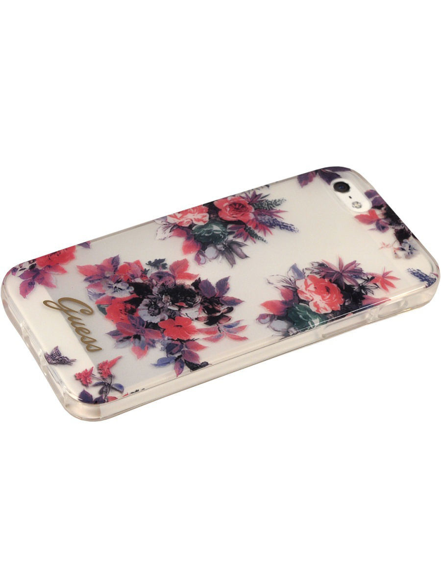 Чехлы для телефонов GUESS Чехол Guess для iPhone 5S/SE BLOSSOM Hard TPU Transparent Flower чехлы для телефонов guess чехол guess для iphone 7 8 flower desire 4g hard pu roses grey