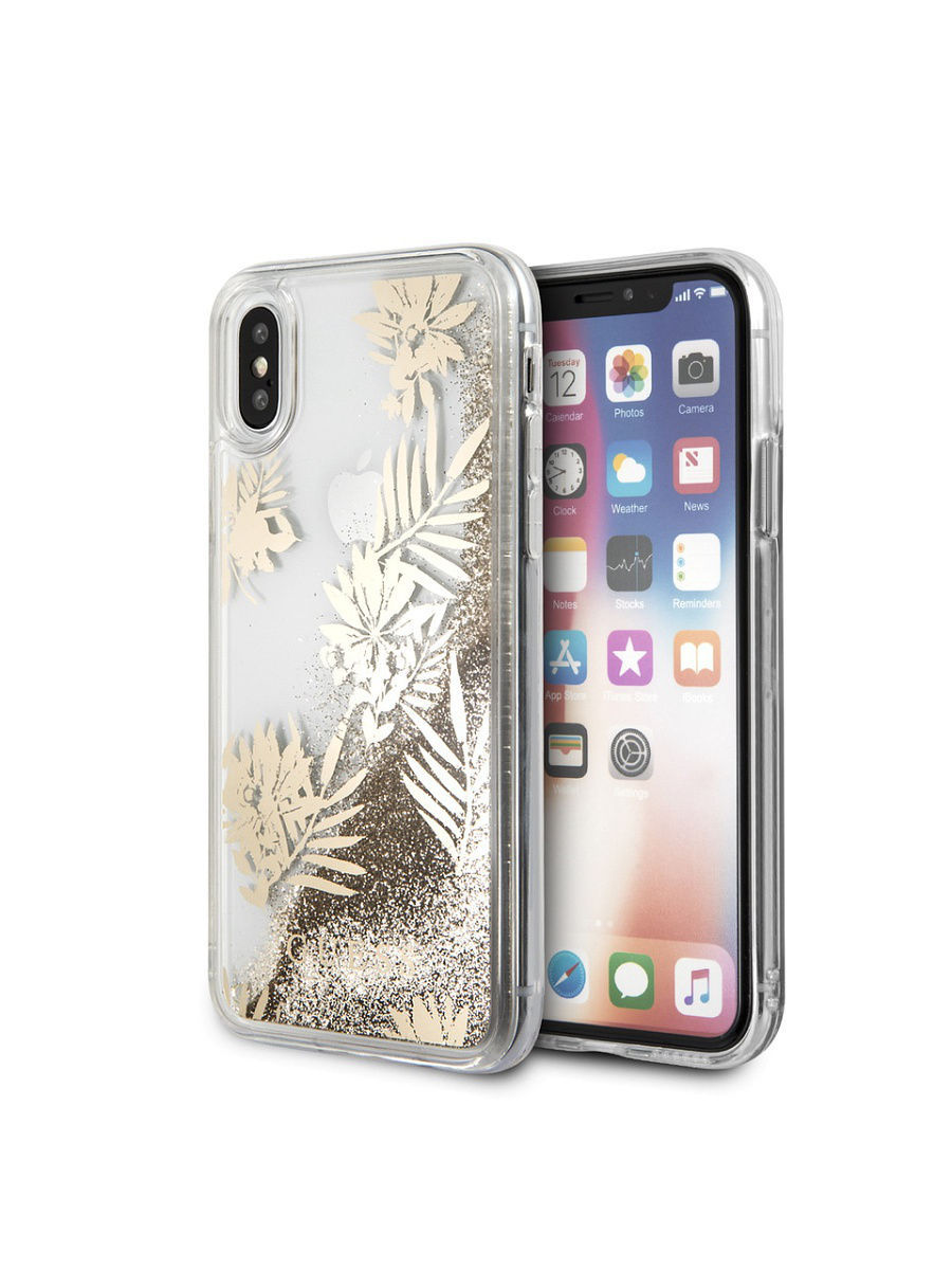 Чехлы для телефонов GUESS Чехол Guess для iPhone X Glitter Palm spring Hard PC Gold чехлы для телефонов guess чехол guess для iphone 7 8 flower desire 4g hard pu roses grey