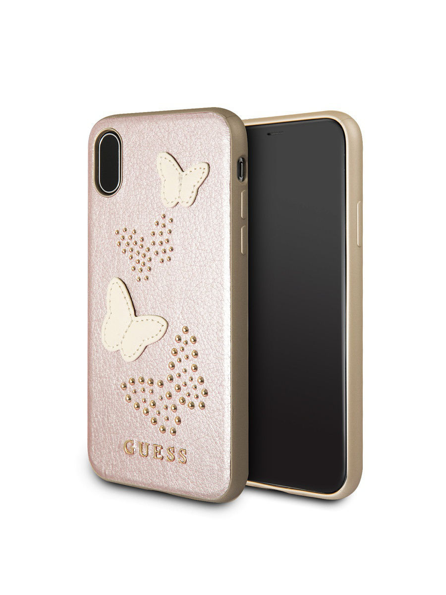 Чехлы для телефонов GUESS Чехол Guess для iPhone X Studs&Sparkles Hard PU/Butterflies Rose gold чехлы для телефонов guess чехол guess для iphone 7 8 flower desire 4g hard pu roses grey