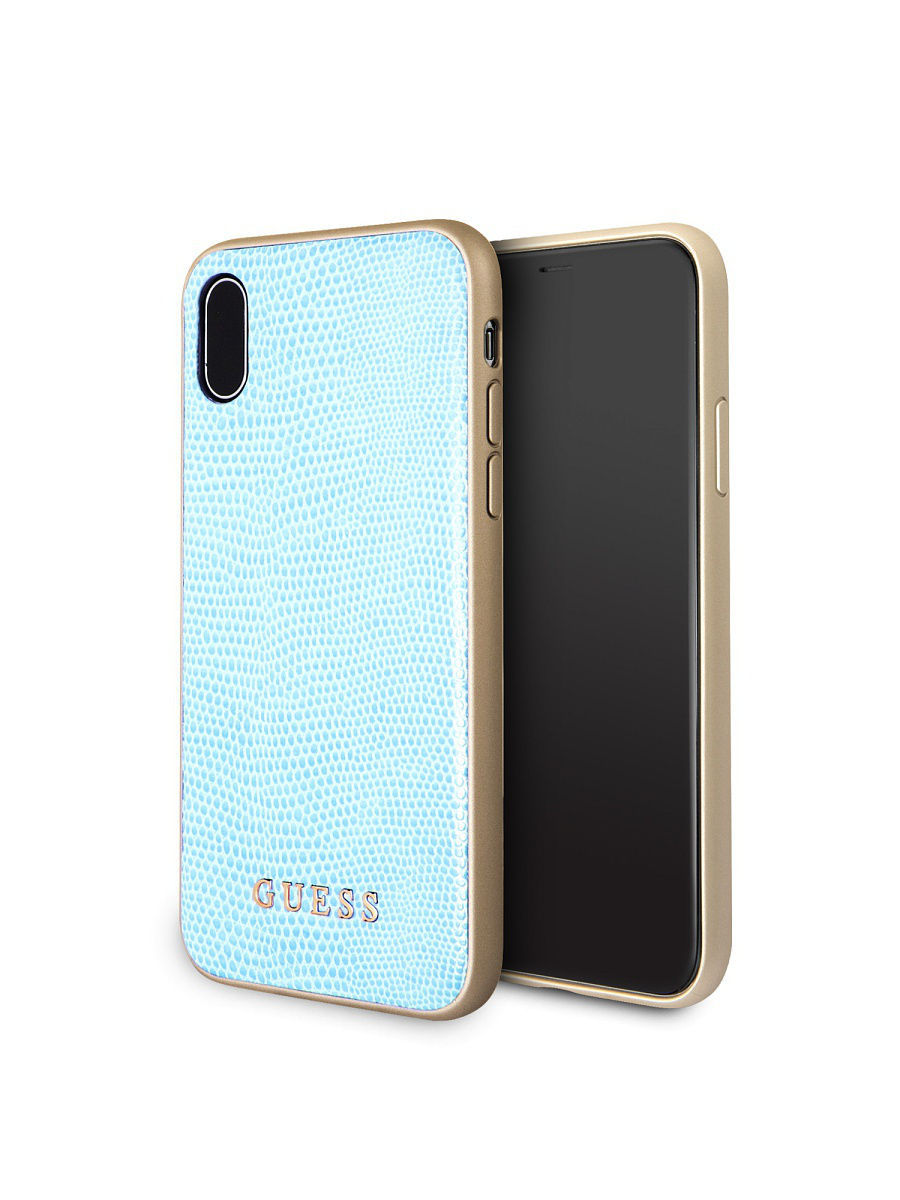 Чехлы для телефонов GUESS Чехол Guess для iPhone X Python Hard PU Blue guess gu460dwhlf92