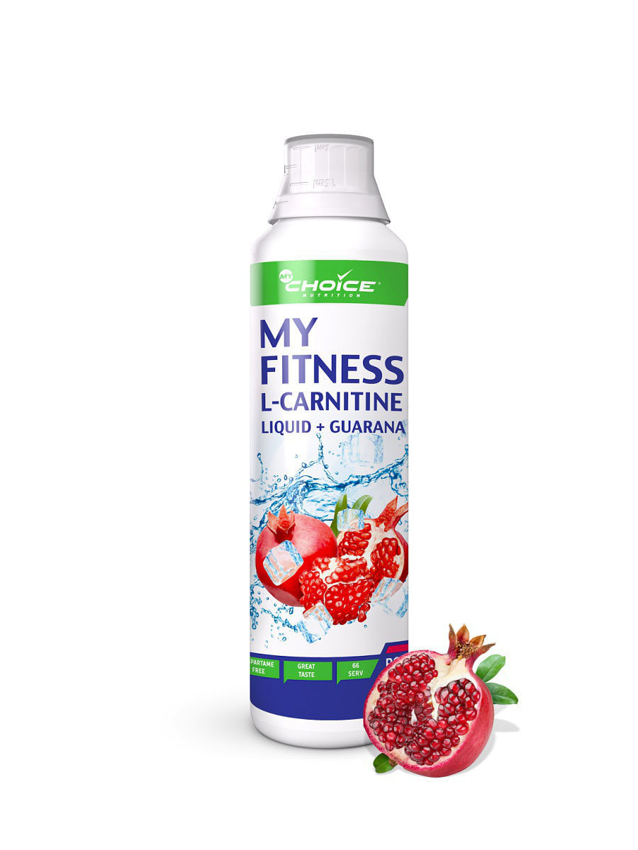 Жидкий концентрат л-карнитина My Fitness L-carnitine liquid + Guarana, вкус - гранат, 500мл MyChoice Nutrition 4627126937582