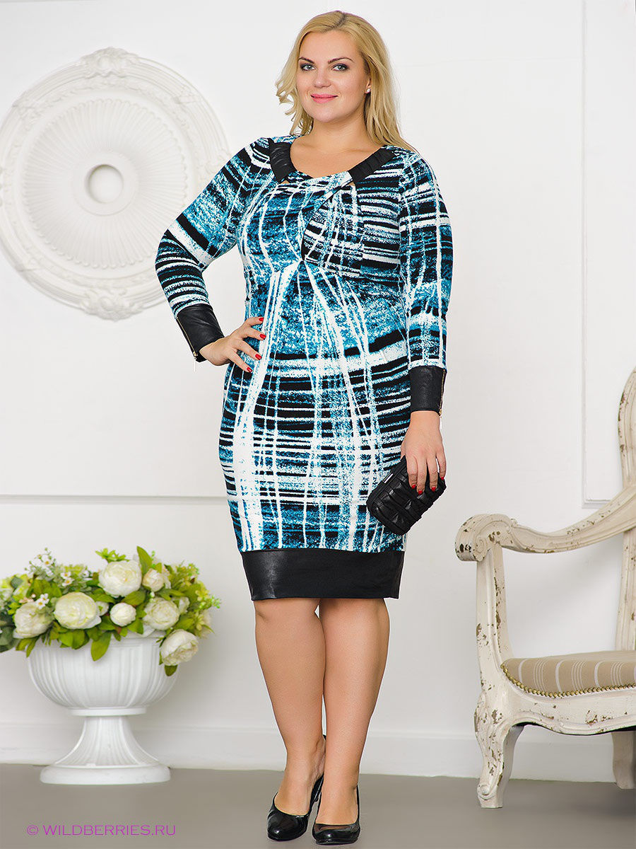 Платье Gemko plus size 12919/TURKUAZ