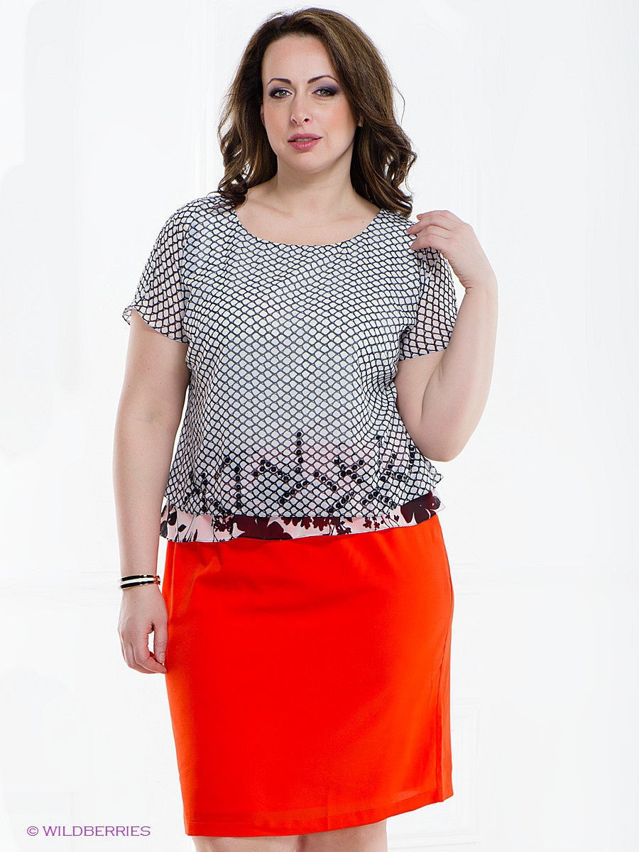 Платье 2 в 1 Gemko plus size 13285/ORANGE