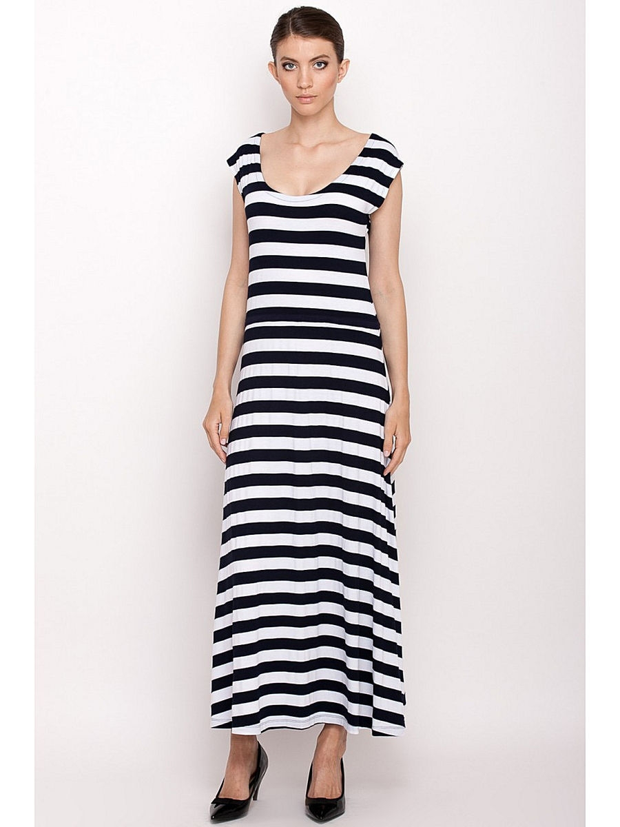 Летнее платье Baon (Баон) B456052/WHITE-DARKNAVYSTRIPED