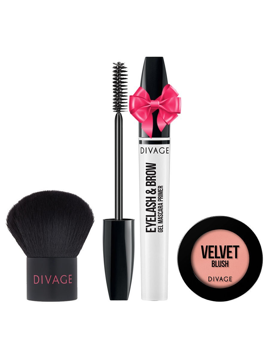 Набор: №332 Кисть кабуки Professional Line + Румяна Velvet № 8701 + Eyelash  Brow Gel в ПОДАРОК! DIVAGE