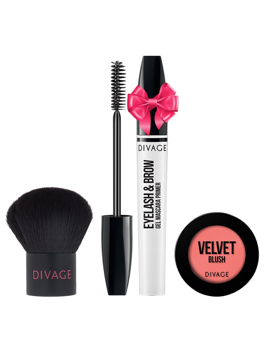 Набор: №333 Кисть кабуки Professional Line + Румяна Velvet № 8702 + Eyelash  Brow Gel в ПОДАРОК! DIVAGE