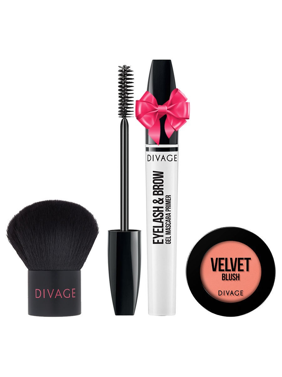 Набор: №334 Кисть кабуки Professional Line + Румяна Velvet № 8703 + Eyelash  Brow Gel в ПОДАРОК! DIVAGE
