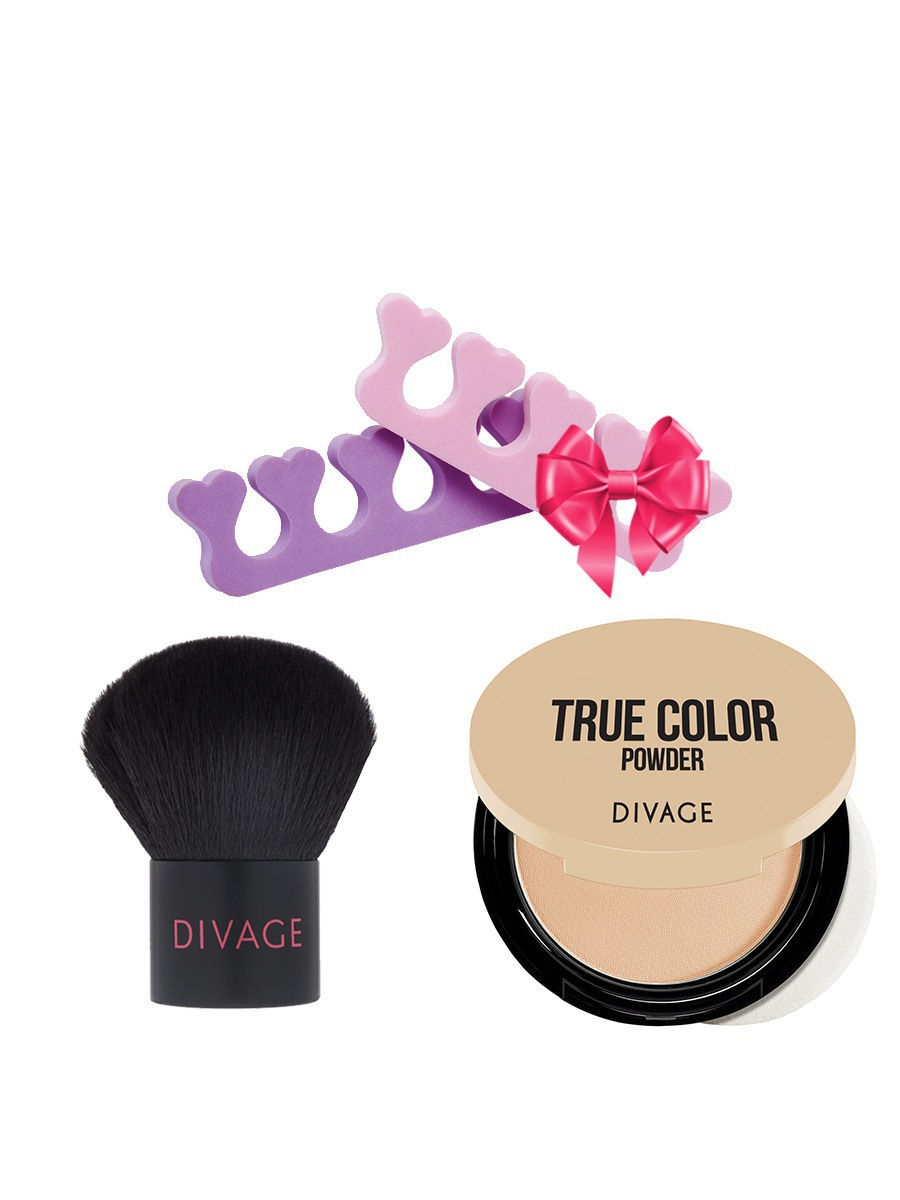 Набор: №339 Кисть кабуки Professional Line + Пудра Compact Powder True Color, №02 + ПОДАРОК DIVAGE