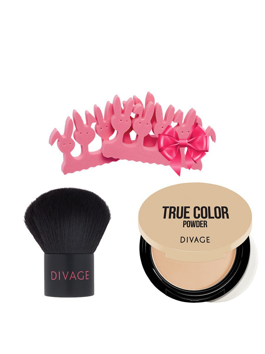 Набор: №340 Кисть кабуки Professional Line + Пудра Compact Powder True Color, №02 + ПОДАРОК DIVAGE