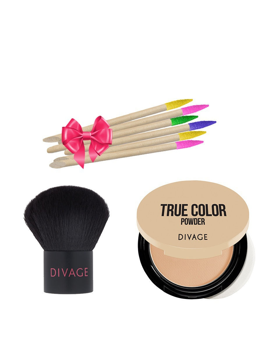 Набор: №340 Кисть кабуки Professional Line + Пудра Compact Powder True Color, №03 + ПОДАРОК DIVAGE