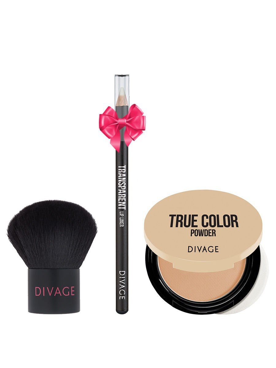 Набор: №342 Кисть кабуки Professional Line + Пудра Compact Powder True Color, №04 + ПОДАРОК DIVAGE